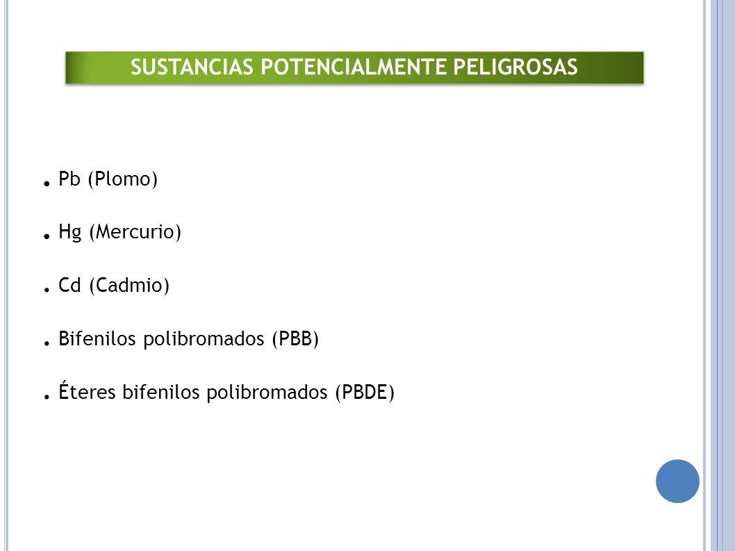 Pb (Plomo).Hg (Mercurio). Cd (Cadmio). Bifenilos polibromados (PBB).