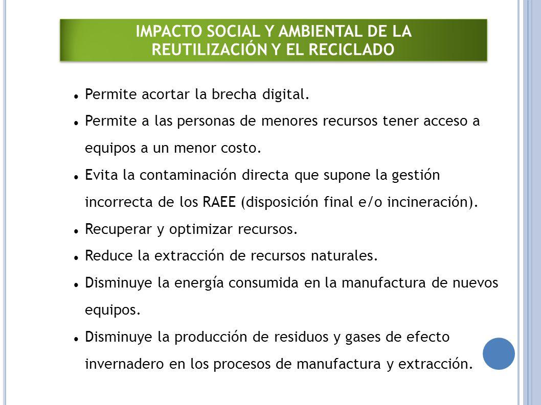 IMPACTO SOCIAL Y AMBIENTAL DE LA REUTILIZACIÓN Y EL RECICLADO IMPACTO SOCIAL Y AMBIENTAL DE LA REUTILIZACIÓN Y EL RECICLADO Permite acortar la brecha digital.
