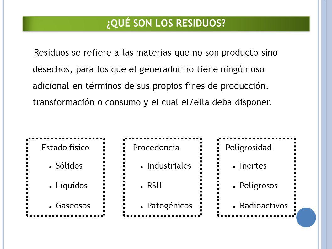 Residuos se refiere a las materias que no son producto sino desechos, para los que el generador no tiene ningún uso adicional en términos de sus propios fines de producción, transformación o consumo y el cual el/ella deba disponer.