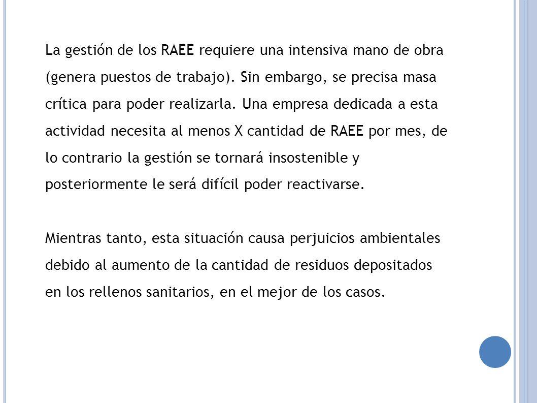 La gestión de los RAEE requiere una intensiva mano de obra (genera puestos de trabajo).