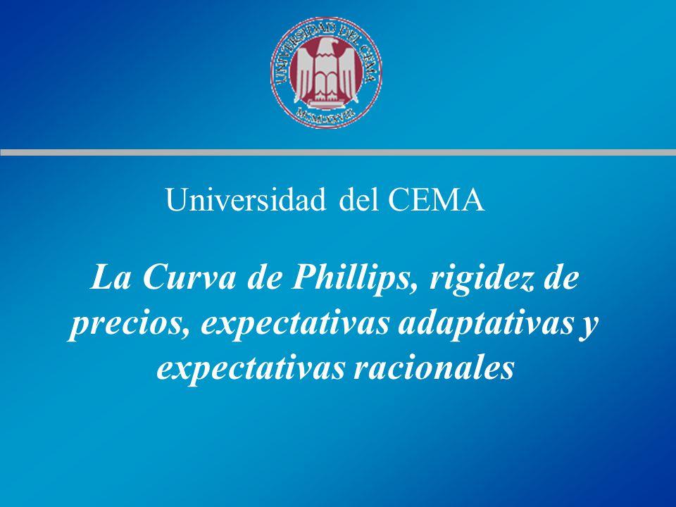 Universidad del CEMA La Curva de Phillips, rigidez de precios, expectativas adaptativas y expectativas racionales