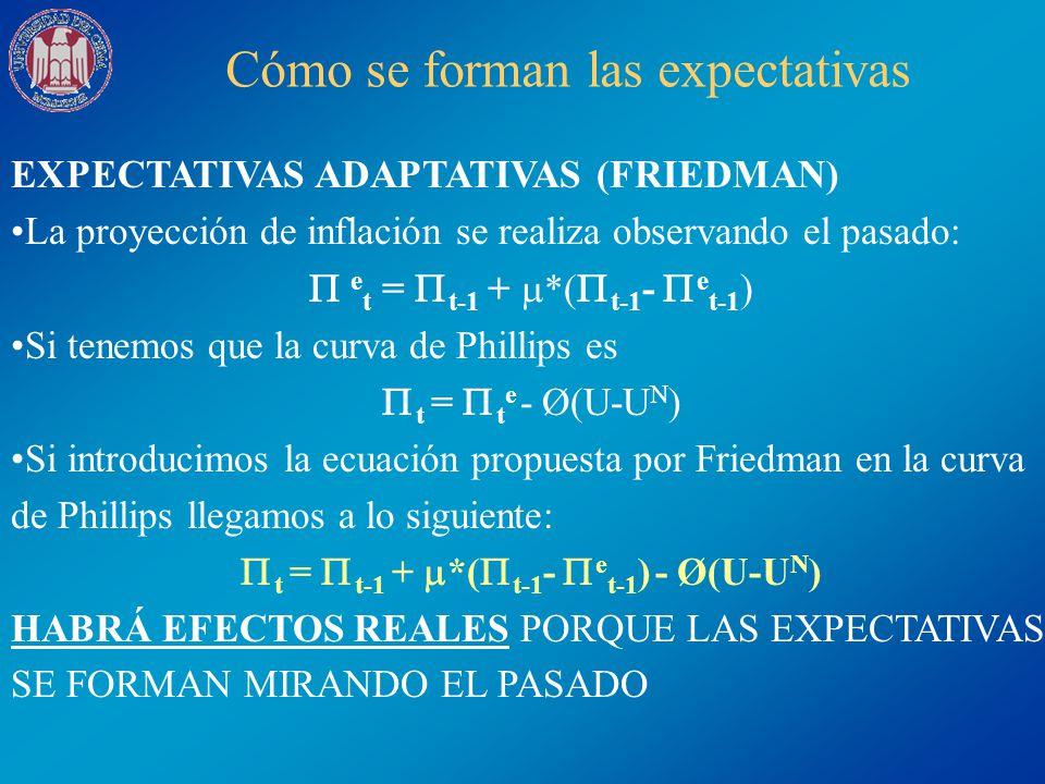Cómo se forman las expectativas EXPECTATIVAS ADAPTATIVAS (FRIEDMAN) La proyección de inflación se realiza observando el pasado: e t = t-1 + *( t-1 - e