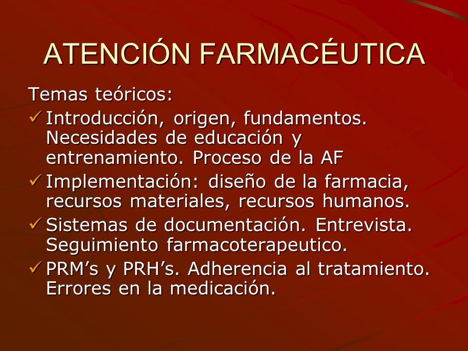 ATENCIÓN FARMACÉUTICA Temas teóricos: Introducción, origen, fundamentos. Necesidades de educación y entrenamiento. Proceso de la AF Introducción, orig