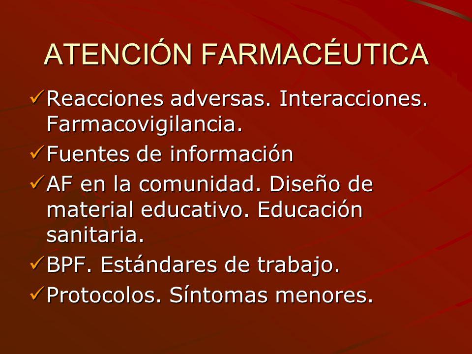ATENCIÓN FARMACÉUTICA Reacciones adversas. Interacciones. Farmacovigilancia. Reacciones adversas. Interacciones. Farmacovigilancia. Fuentes de informa