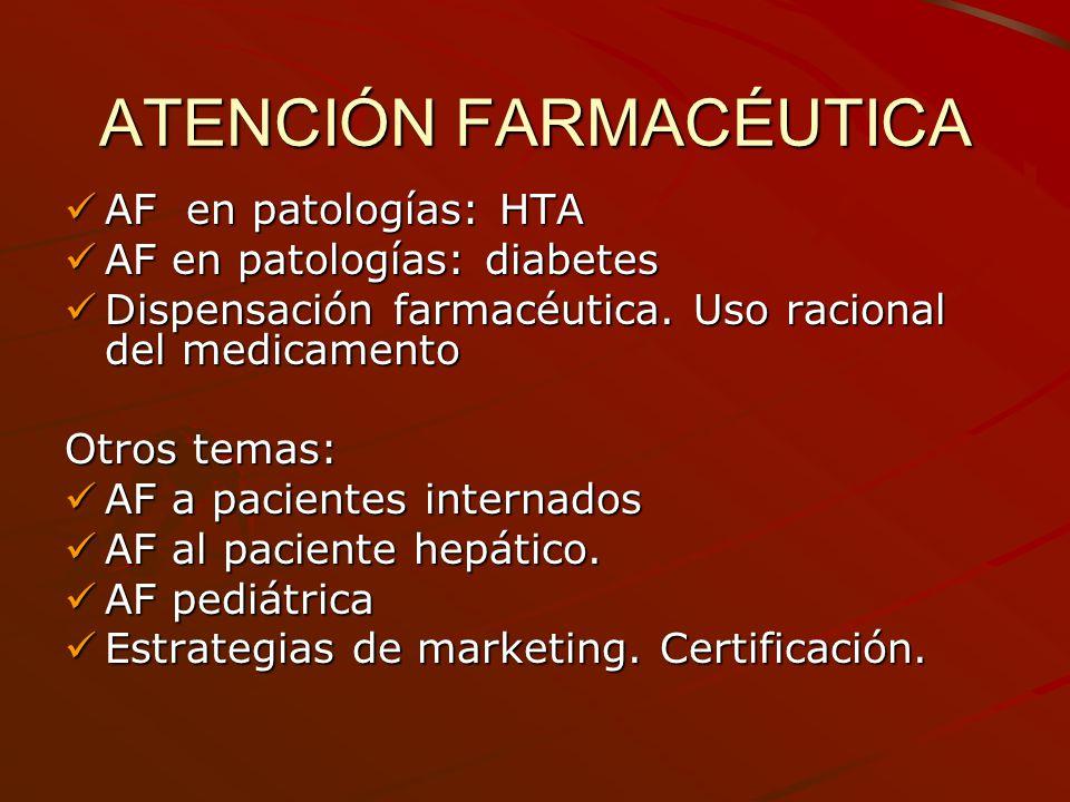 ATENCIÓN FARMACÉUTICA AF en patologías: HTA AF en patologías: HTA AF en patologías: diabetes AF en patologías: diabetes Dispensación farmacéutica. Uso