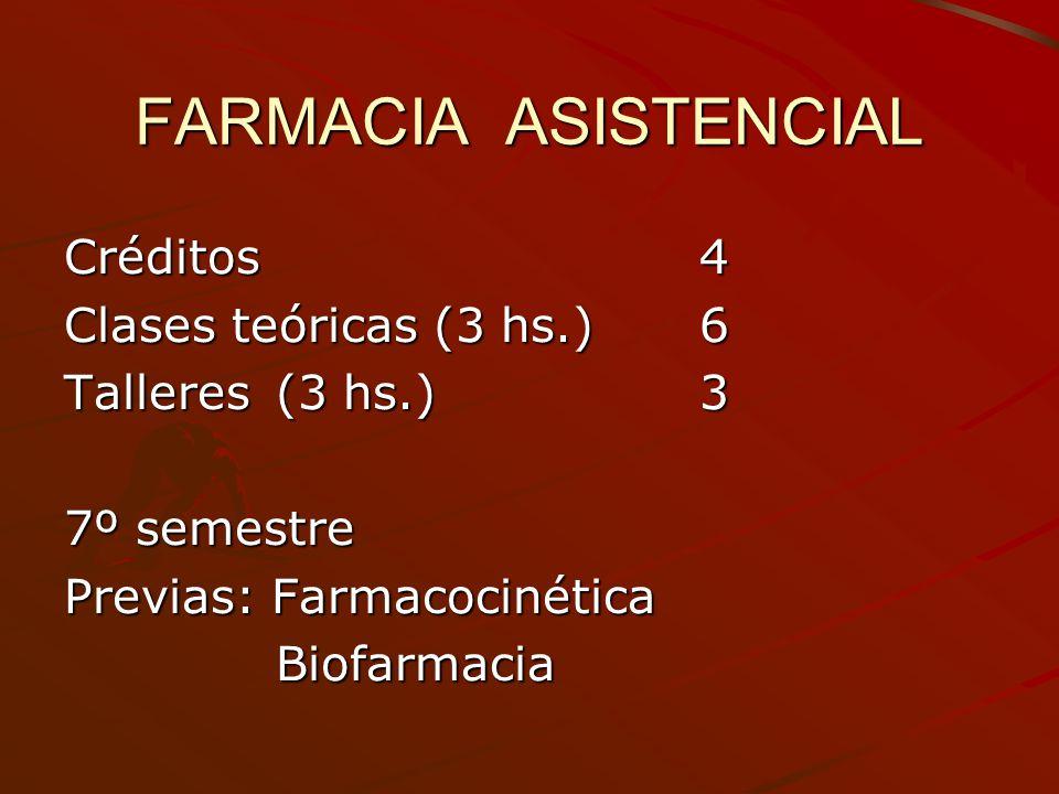 FARMACIA ASISTENCIAL Créditos4 Clases teóricas (3 hs.)6 Talleres(3 hs.)3 7º semestre Previas: Farmacocinética Biofarmacia