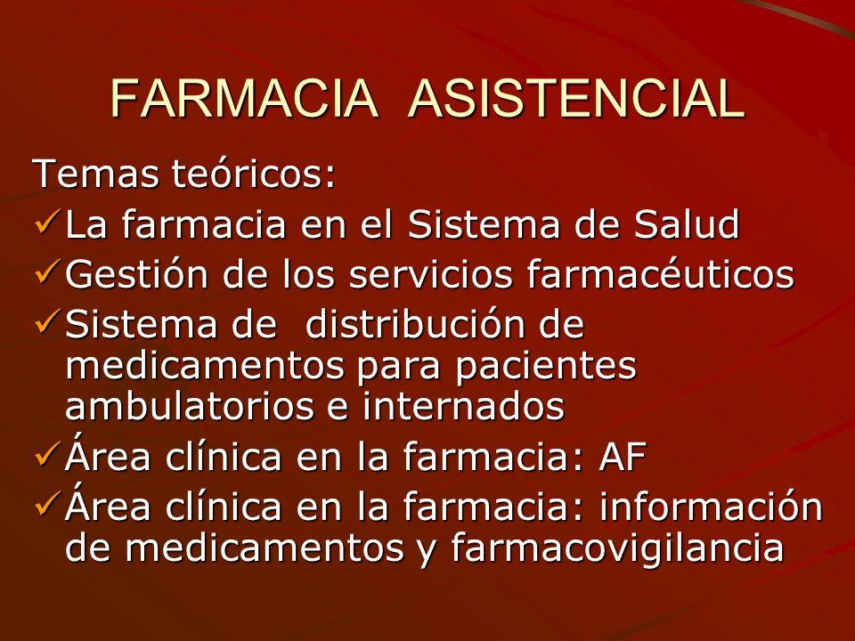 FARMACIA ASISTENCIAL Temas teóricos: La farmacia en el Sistema de Salud La farmacia en el Sistema de Salud Gestión de los servicios farmacéuticos Gest