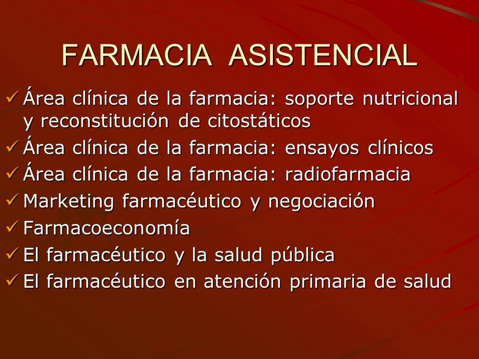 FARMACIA ASISTENCIAL Área clínica de la farmacia: soporte nutricional y reconstitución de citostáticos Área clínica de la farmacia: soporte nutriciona