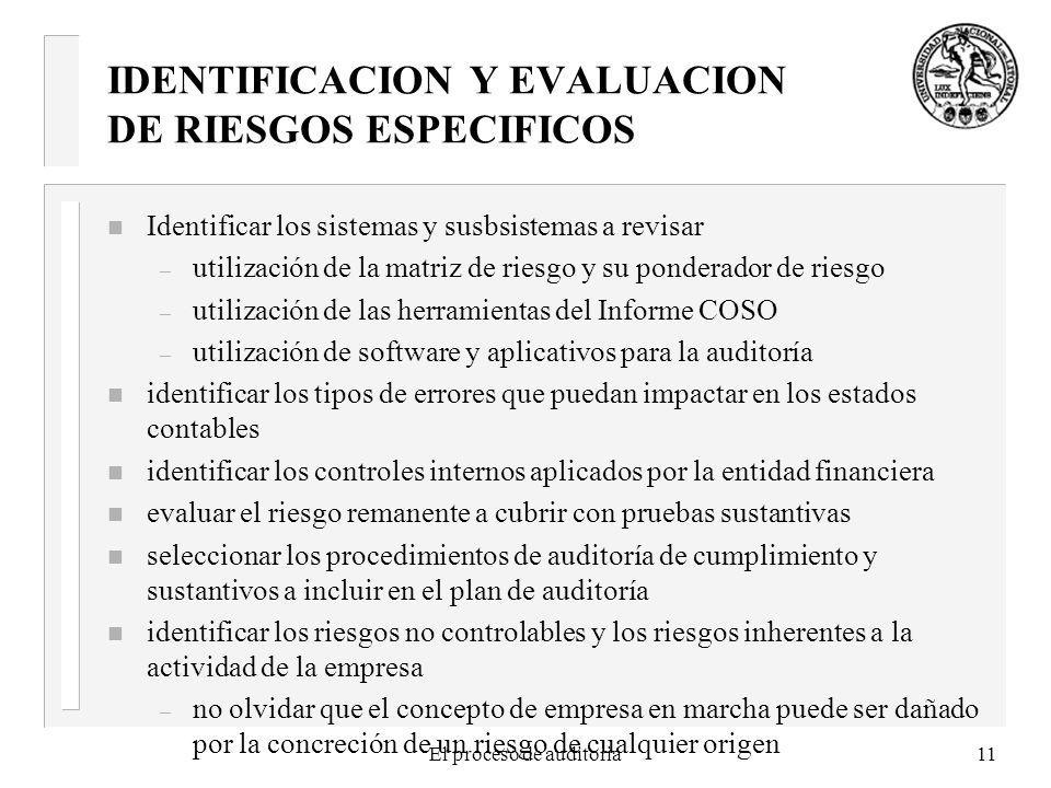 El proceso de auditoria11 IDENTIFICACION Y EVALUACION DE RIESGOS ESPECIFICOS n Identificar los sistemas y susbsistemas a revisar – utilización de la matriz de riesgo y su ponderador de riesgo – utilización de las herramientas del Informe COSO – utilización de software y aplicativos para la auditoría n identificar los tipos de errores que puedan impactar en los estados contables n identificar los controles internos aplicados por la entidad financiera n evaluar el riesgo remanente a cubrir con pruebas sustantivas n seleccionar los procedimientos de auditoría de cumplimiento y sustantivos a incluir en el plan de auditoría n identificar los riesgos no controlables y los riesgos inherentes a la actividad de la empresa – no olvidar que el concepto de empresa en marcha puede ser dañado por la concreción de un riesgo de cualquier origen