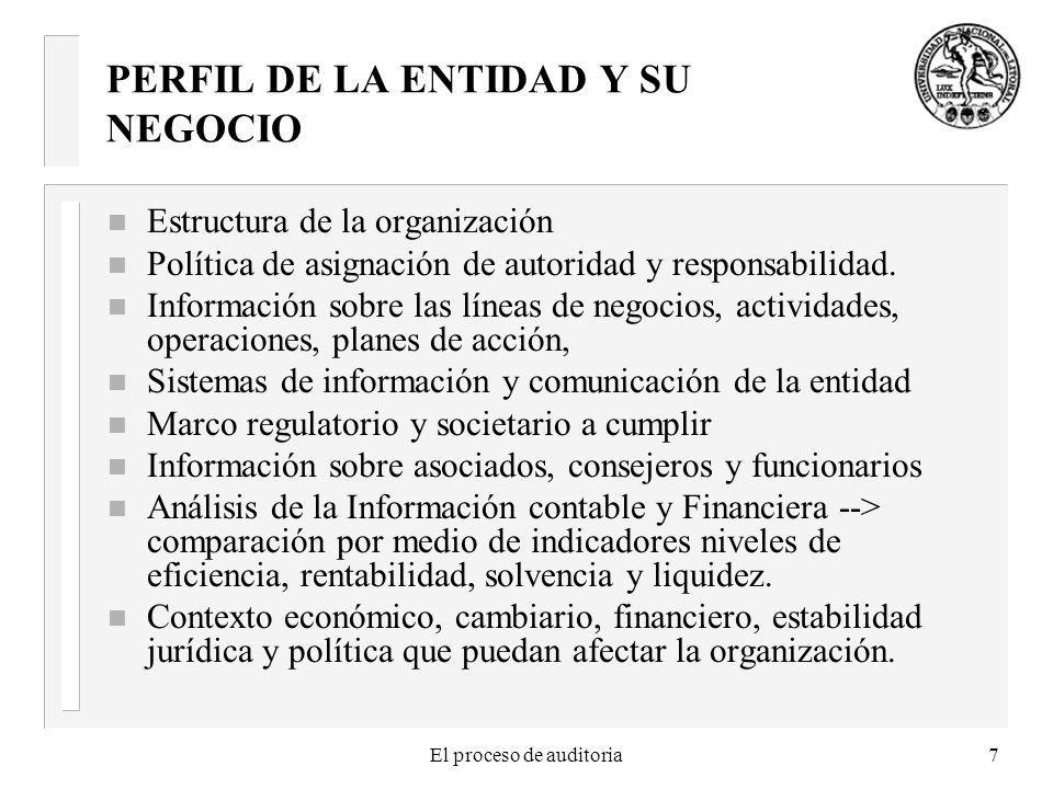 El proceso de auditoria7 PERFIL DE LA ENTIDAD Y SU NEGOCIO n Estructura de la organización n Política de asignación de autoridad y responsabilidad. n