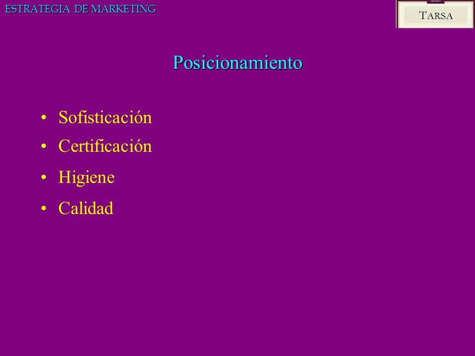 Posicionamiento Sofisticación Certificación Higiene Calidad ESTRATEGIA DE MARKETING