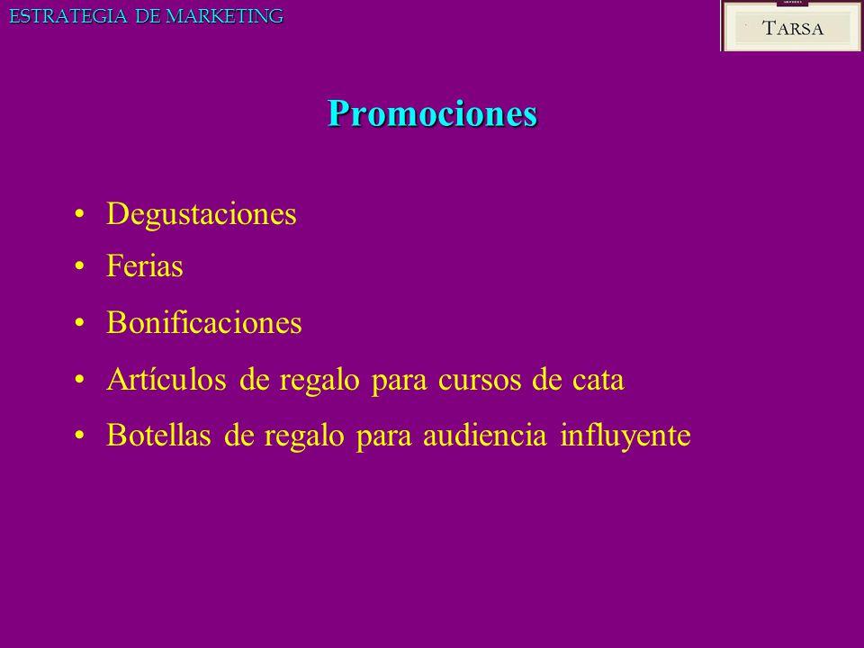 Promociones Degustaciones Ferias Bonificaciones Artículos de regalo para cursos de cata Botellas de regalo para audiencia influyente ESTRATEGIA DE MAR