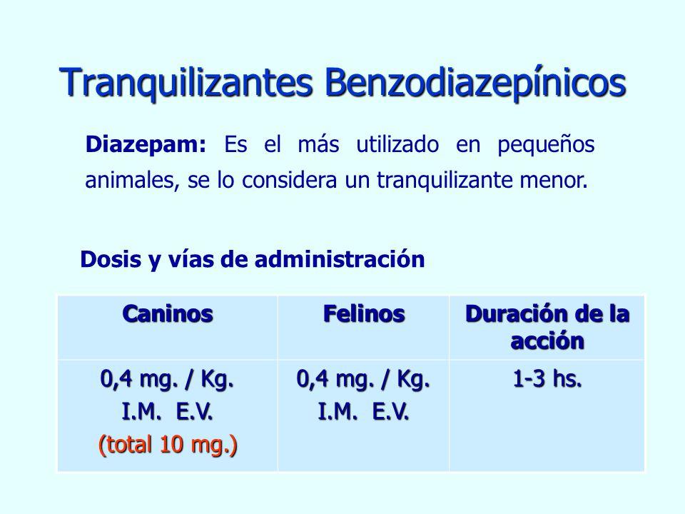 Tranquilizantes Benzodiazepínicos CaninosFelinos Duración de la acción 0,4 mg. / Kg. I.M. E.V. (total 10 mg.) 0,4 mg. / Kg. I.M. E.V. 1-3 hs. Dosis y
