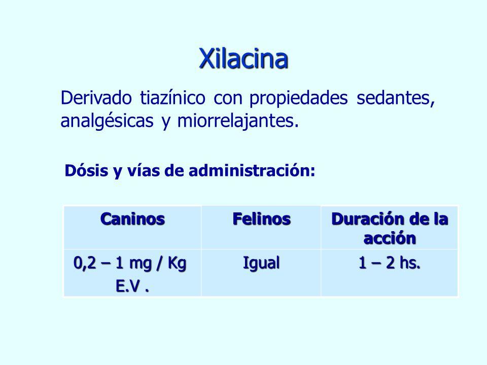 Xilacina CaninosFelinos Duración de la acción 0,2 – 1 mg / Kg 0,2 – 1 mg / Kg E.V. Igual 1 – 2 hs. Derivado tiazínico con propiedades sedantes, analgé