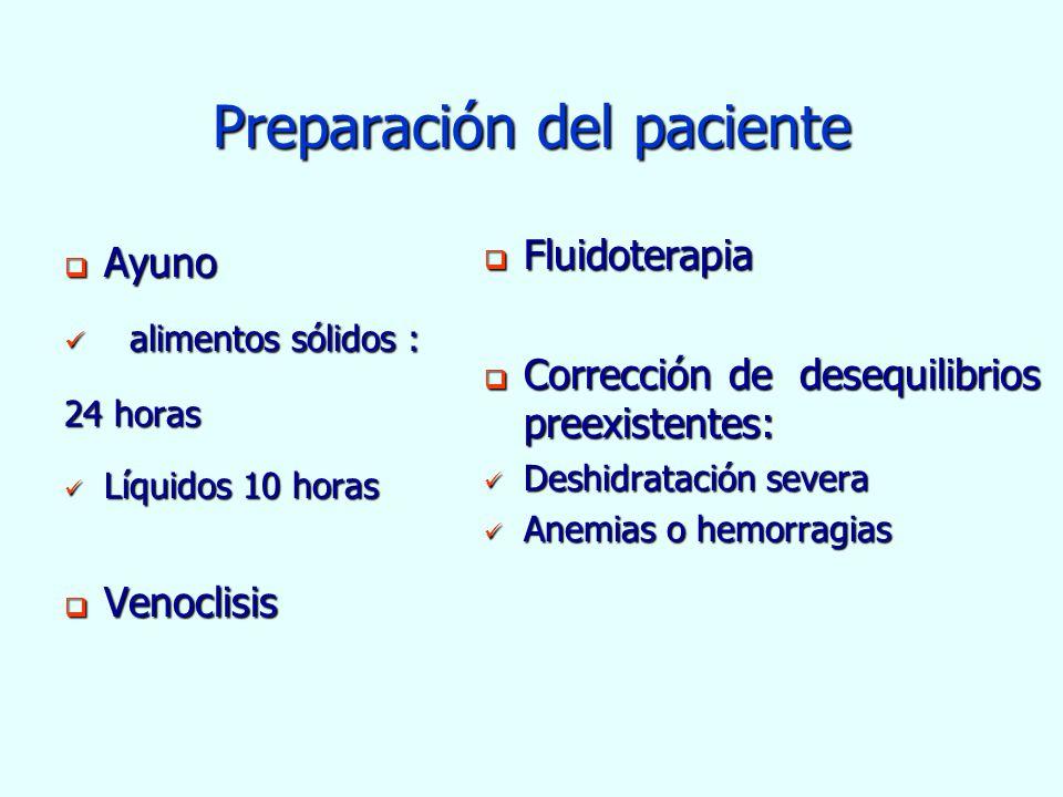 Preparación del paciente Ayuno Ayuno alimentos sólidos : alimentos sólidos : 24 horas Líquidos 10 horas Líquidos 10 horas Venoclisis Venoclisis Fluido