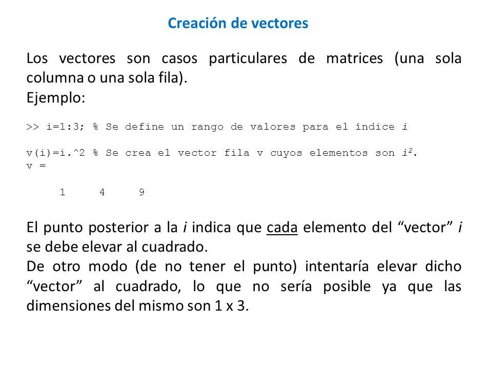 Los vectores son casos particulares de matrices (una sola columna o una sola fila). Ejemplo: >> i=1:3; % Se define un rango de valores para el índice