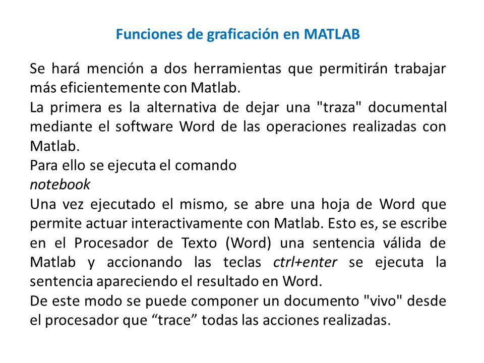 Se hará mención a dos herramientas que permitirán trabajar más eficientemente con Matlab. La primera es la alternativa de dejar una