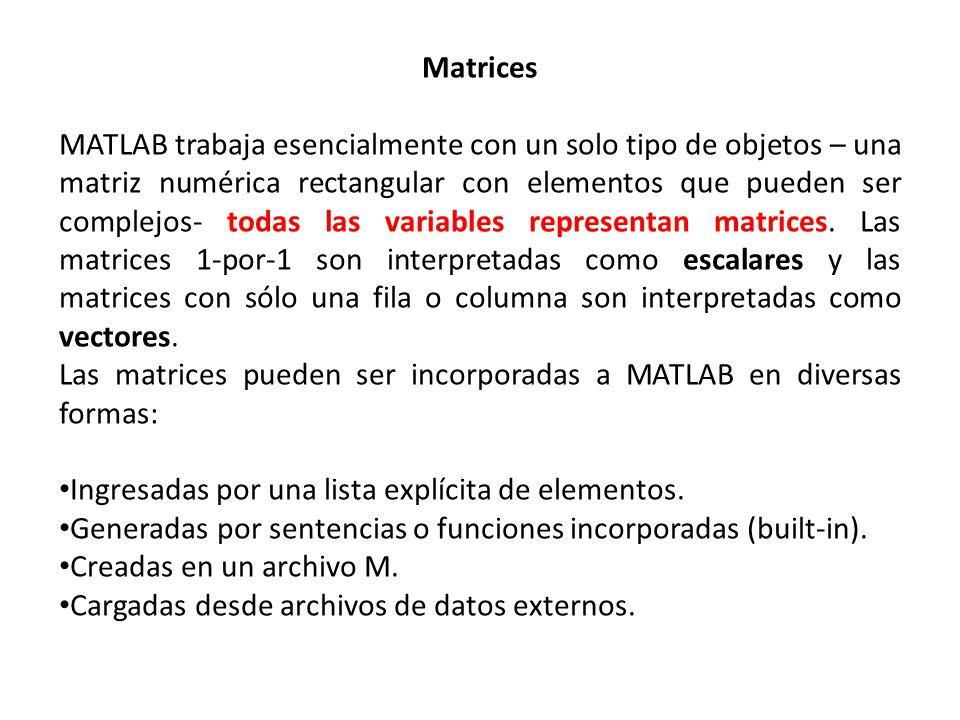 Matrices MATLAB trabaja esencialmente con un solo tipo de objetos – una matriz numérica rectangular con elementos que pueden ser complejos- todas las