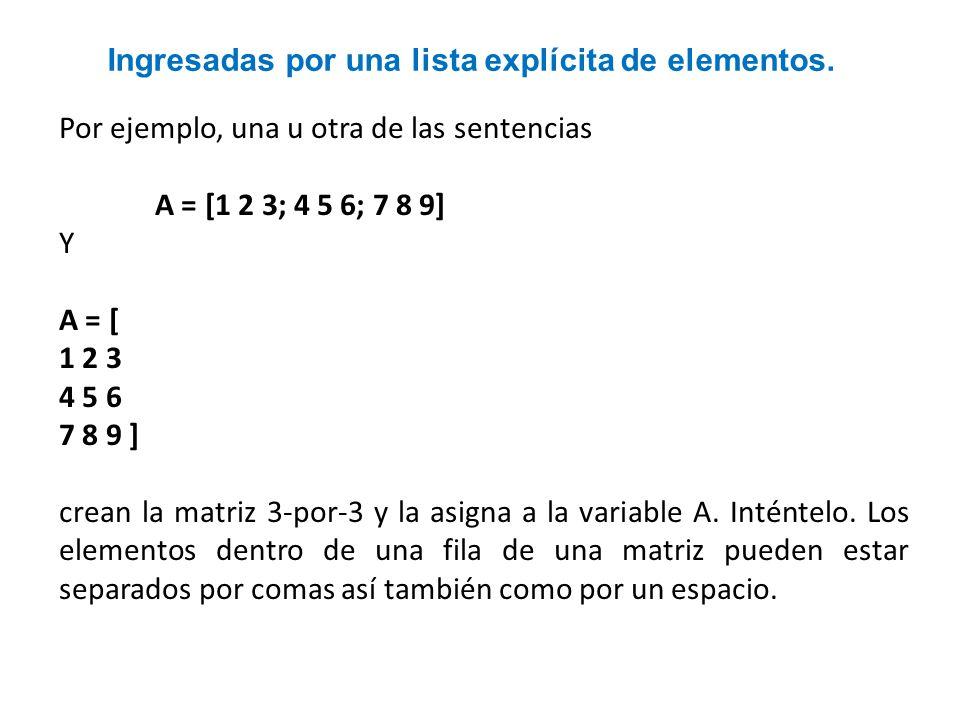 Ingresadas por una lista explícita de elementos. Por ejemplo, una u otra de las sentencias A = [1 2 3; 4 5 6; 7 8 9] Y A = [ 1 2 3 4 5 6 7 8 9 ] crean