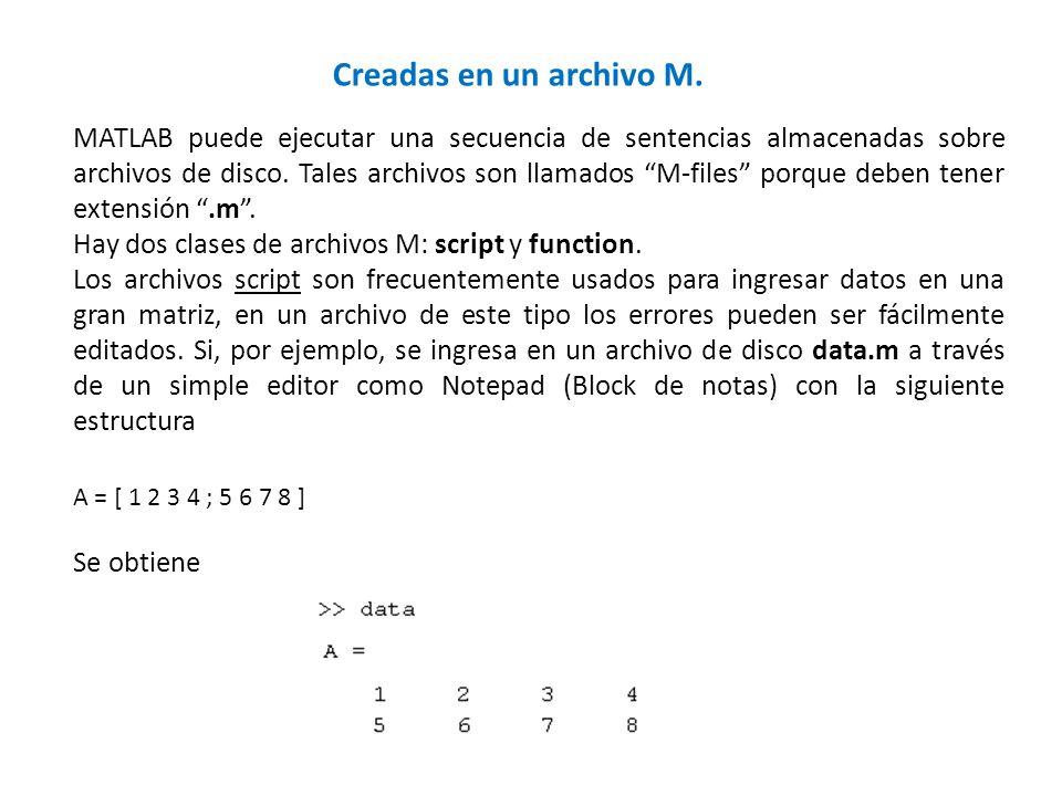 Creadas en un archivo M. MATLAB puede ejecutar una secuencia de sentencias almacenadas sobre archivos de disco. Tales archivos son llamados M-files po
