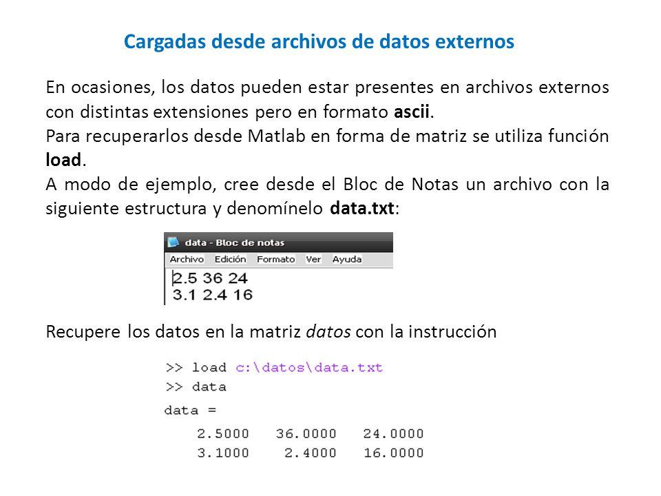 Cargadas desde archivos de datos externos En ocasiones, los datos pueden estar presentes en archivos externos con distintas extensiones pero en format