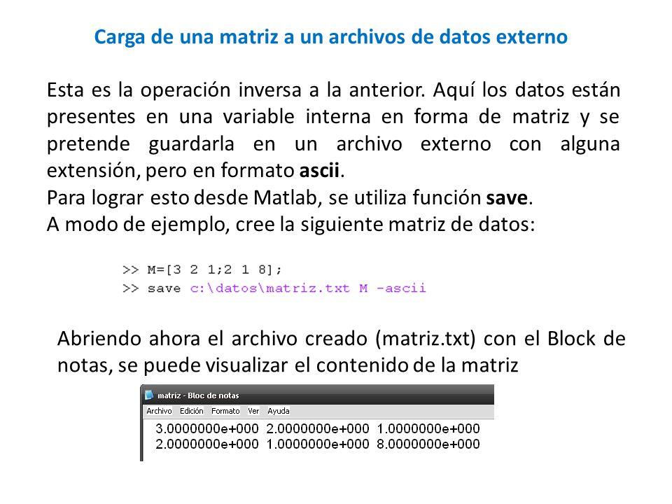 Carga de una matriz a un archivos de datos externo Esta es la operación inversa a la anterior. Aquí los datos están presentes en una variable interna