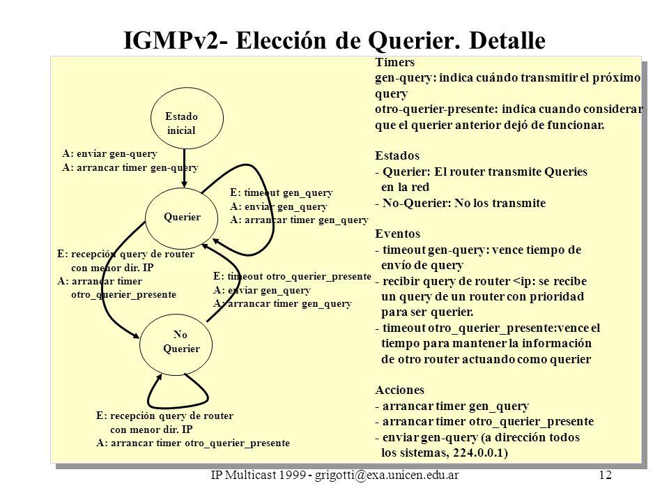 IP Multicast 1999 - grigotti@exa.unicen.edu.ar12 IGMPv2- Elección de Querier.