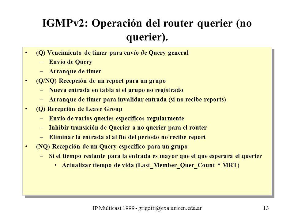 IP Multicast 1999 - grigotti@exa.unicen.edu.ar13 IGMPv2: Operación del router querier (no querier).