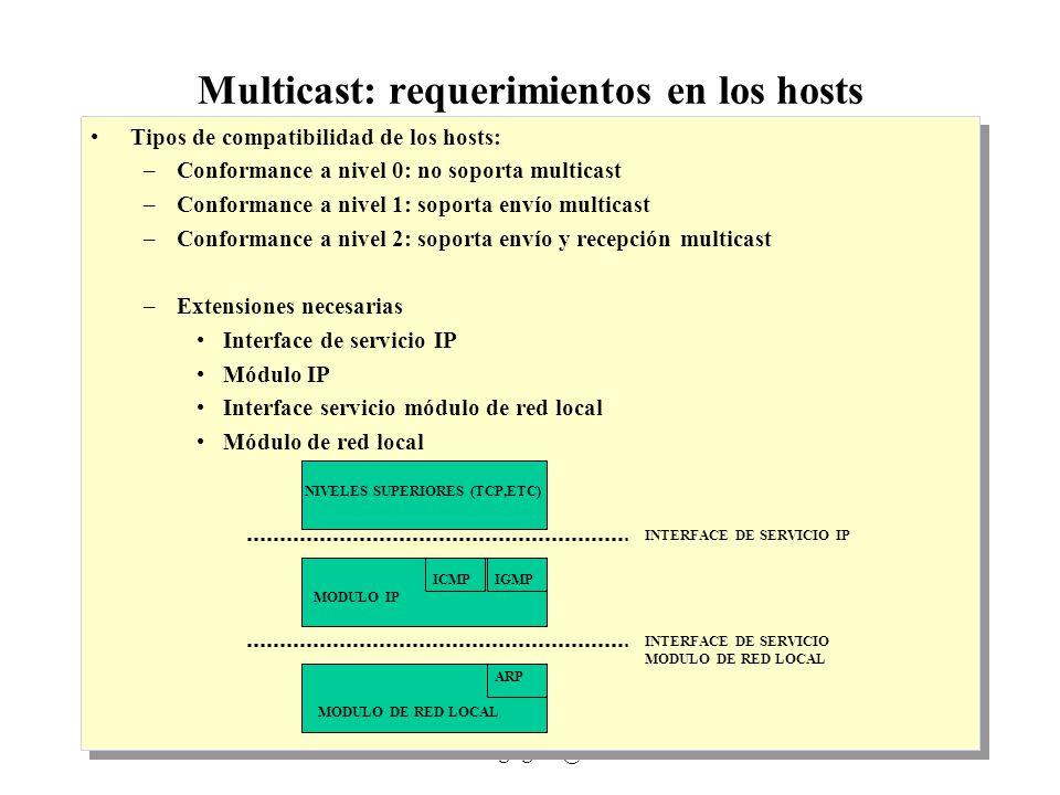 IP Multicast 1999 - grigotti@exa.unicen.edu.ar3 Multicast:requerimientos en los hosts Extensiones para envío –Interface del servicio IP Se utiliza el send normal con dirección multicast (niveles 1 y 2) Debe permitir especificar TTL (niveles 1 y 2) Para hosts multihomed debe poder especificarse la interface (niveles 1 y 2) Debe poder especificarse si se desea loopback de multicasts (en caso de que el host sea miembro de un grupo al que envía) (sólo nivel 2) –Módulo IP Debe reconocer direcciones multicast En función de lo especificado vía interface, no realizar loopbacks –Interface del Módulo de red: sin cambios –Módulo de red Mapeo de direcciones multicast IP a direcciones multicast de la red (en caso de Ethernet, dir Eth multicast con los 23 últimos bits iguales a dirección IP) Extensiones para envío –Interface del servicio IP Se utiliza el send normal con dirección multicast (niveles 1 y 2) Debe permitir especificar TTL (niveles 1 y 2) Para hosts multihomed debe poder especificarse la interface (niveles 1 y 2) Debe poder especificarse si se desea loopback de multicasts (en caso de que el host sea miembro de un grupo al que envía) (sólo nivel 2) –Módulo IP Debe reconocer direcciones multicast En función de lo especificado vía interface, no realizar loopbacks –Interface del Módulo de red: sin cambios –Módulo de red Mapeo de direcciones multicast IP a direcciones multicast de la red (en caso de Ethernet, dir Eth multicast con los 23 últimos bits iguales a dirección IP) Algoritmo de envío no multicast if dir_IP_destino es local enviar local a dir_IP_destino else enviar local a RouterTo(dir_IP_destin0) Algoritmo de envío multicast if (dir_IP_destino es local o dir_IP_destino es multicast) enviar local a dir_IP_destino else enviar local a RouterTo(dir_IP_destino) Algoritmo de envío no multicast if dir_IP_destino es local enviar local a dir_IP_destino else enviar local a RouterTo(dir_IP_destin0) Algoritmo de envío multicast if (dir_IP_destino es local o dir_IP_destino es 