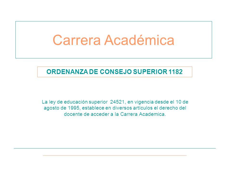 Carrera Académica La ley de educación superior 24521, en vigencia desde el 10 de agosto de 1995, establece en diversos artículos el derecho del docente de acceder a la Carrera Academica.