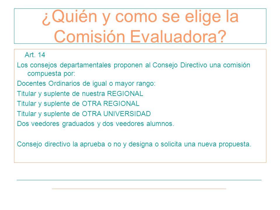Art. 14 Los consejos departamentales proponen al Consejo Directivo una comisión compuesta por: Docentes Ordinarios de igual o mayor rango: Titular y s