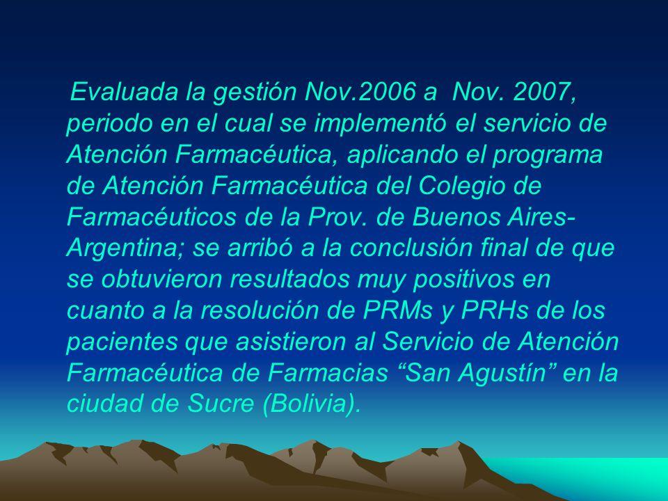 Evaluada la gestión Nov.2006 a Nov.