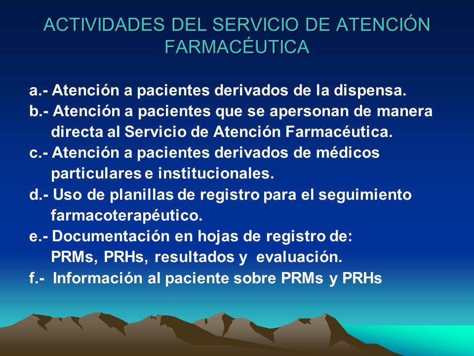 ACTIVIDADES DEL SERVICIO DE ATENCIÓN FARMACÉUTICA a.- Atención a pacientes derivados de la dispensa.