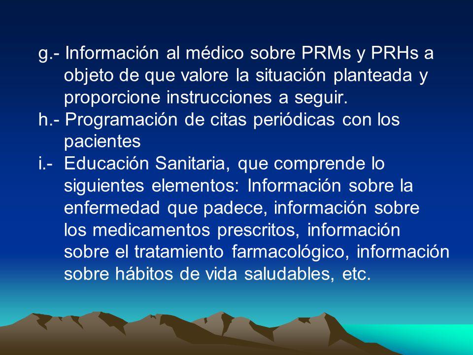 g.- Información al médico sobre PRMs y PRHs a objeto de que valore la situación planteada y proporcione instrucciones a seguir.
