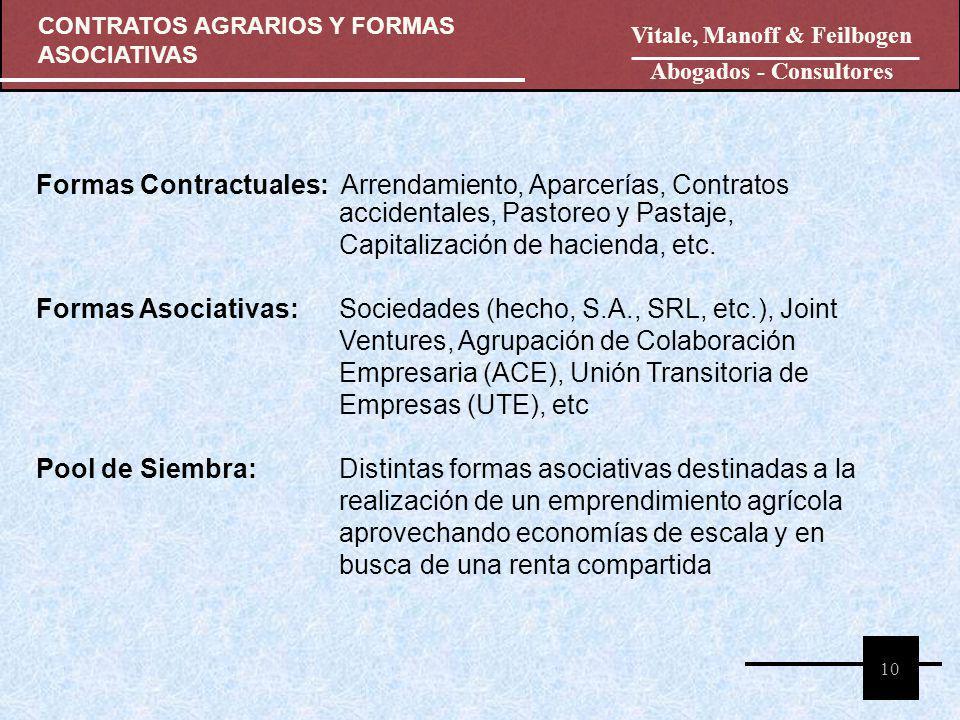 CONTRATOS AGRARIOS Y FORMAS ASOCIATIVAS 10 Vitale, Manoff & Feilbogen Abogados - Consultores Formas Contractuales: Arrendamiento, Aparcerías, Contrato