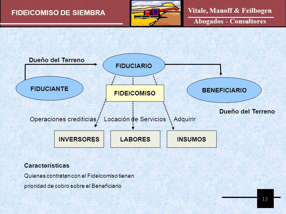 FIDEICOMISO DE SIEMBRA Vitale, Manoff & Feilbogen Abogados - Consultores 13 FIDUCIANTE FIDUCIARIO BENEFICIARIO FIDEICOMISO Dueño del Terreno INVERSORE