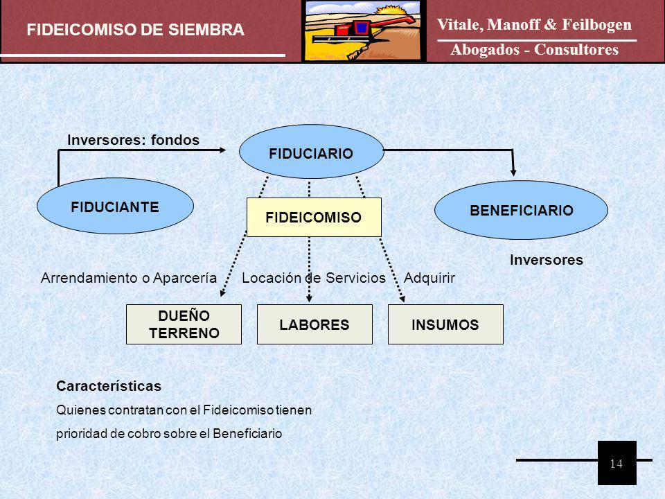 FIDEICOMISO DE SIEMBRA Vitale, Manoff & Feilbogen Abogados - Consultores 14 FIDUCIANTE FIDUCIARIO BENEFICIARIO FIDEICOMISO Inversores: fondos Inversor