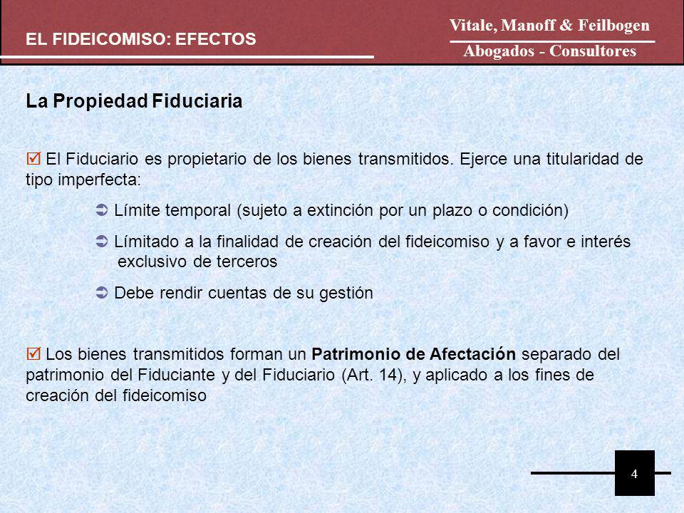 FIDUCIANTE FIDUCIARIO FIDEICOMISO BIENES Bienes Propios Bienes Propios El Patrimonio Fideicomitido se encuentra aislado del patrimonio y riesgos del Fiduciante (art.