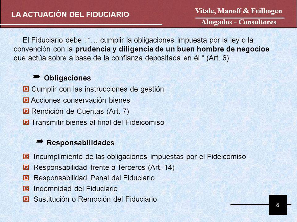 El Fiduciario debe : … cumplir la obligaciones impuesta por la ley o la convención con la prudencia y diligencia de un buen hombre de negocios que act