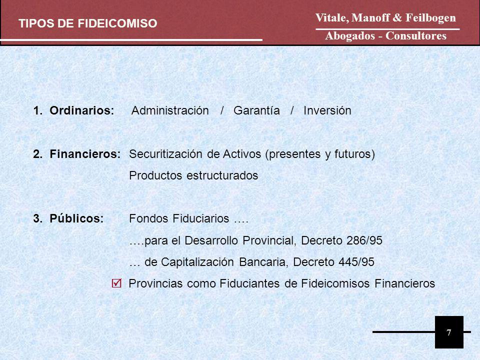 FIDUCIANTE DEUDOR FIDUCIARIO BENEFICIARIO ACREEDOR FIDEICOMISO DEGARANTÍA BIENES Transmisión Designación FIDEICOMISARI O DEUDOR Obligación Garantizada 8 FIDEICOMISO ORDINARIO: GARANTÍA El advenimiento de la condición: falta de pago, genera la disposición del bien y la entrega del producido al Beneficiario Vitale, Manoff & Feilbogen Abogados - Consultores