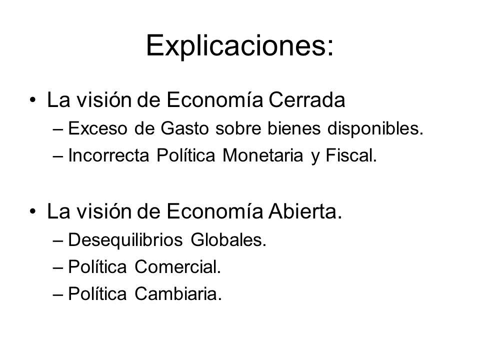 Explicaciones: La visión de Economía Cerrada –Exceso de Gasto sobre bienes disponibles. –Incorrecta Política Monetaria y Fiscal. La visión de Economía