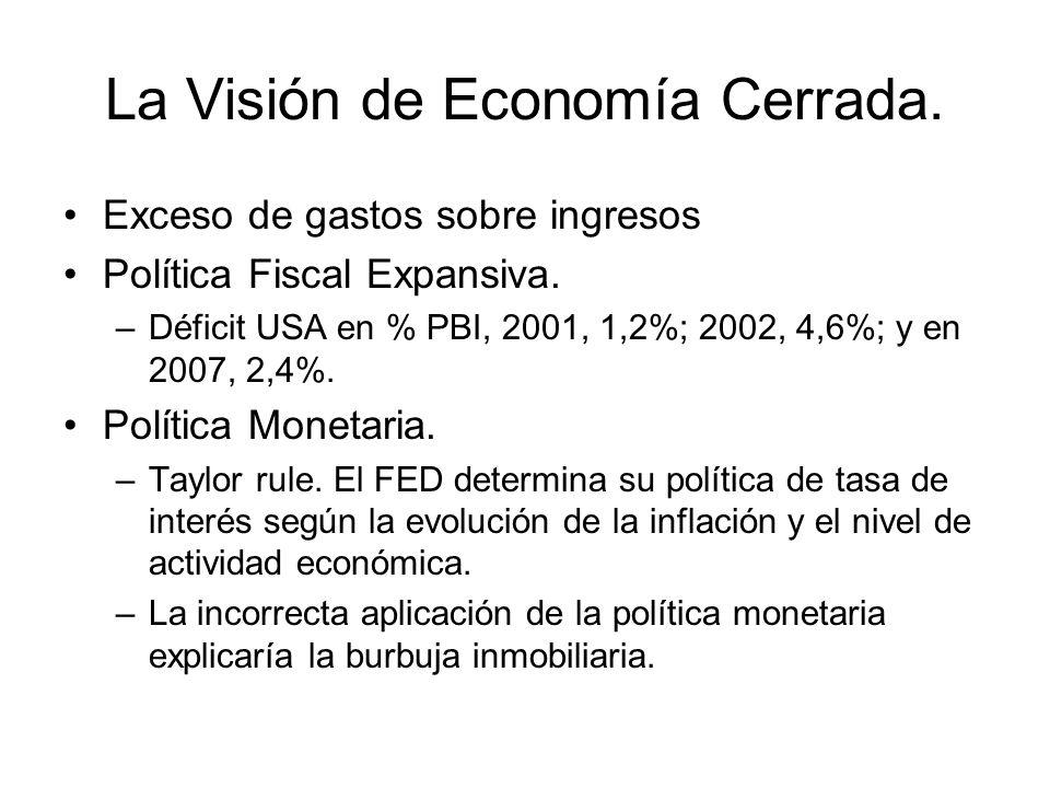 La Visión de Economía Cerrada. Exceso de gastos sobre ingresos Política Fiscal Expansiva. –Déficit USA en % PBI, 2001, 1,2%; 2002, 4,6%; y en 2007, 2,