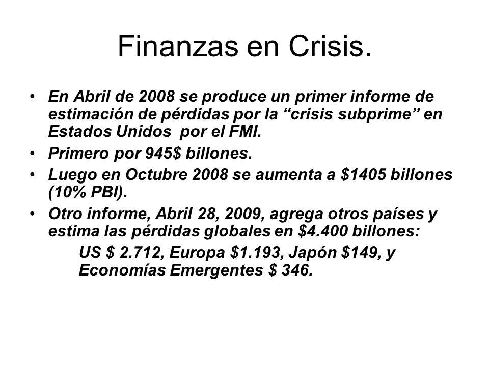 Finanzas en Crisis. En Abril de 2008 se produce un primer informe de estimación de pérdidas por la crisis subprime en Estados Unidos por el FMI. Prime