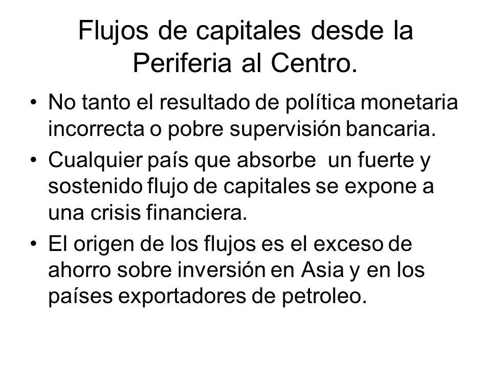 Flujos de capitales desde la Periferia al Centro. No tanto el resultado de política monetaria incorrecta o pobre supervisión bancaria. Cualquier país