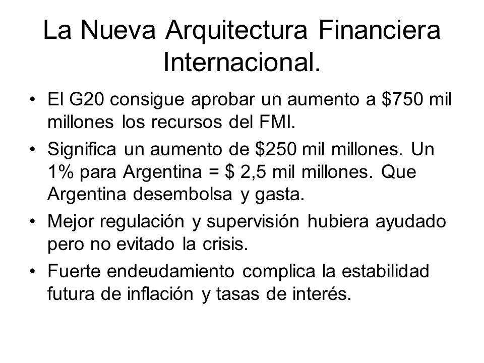 La Nueva Arquitectura Financiera Internacional. El G20 consigue aprobar un aumento a $750 mil millones los recursos del FMI. Significa un aumento de $