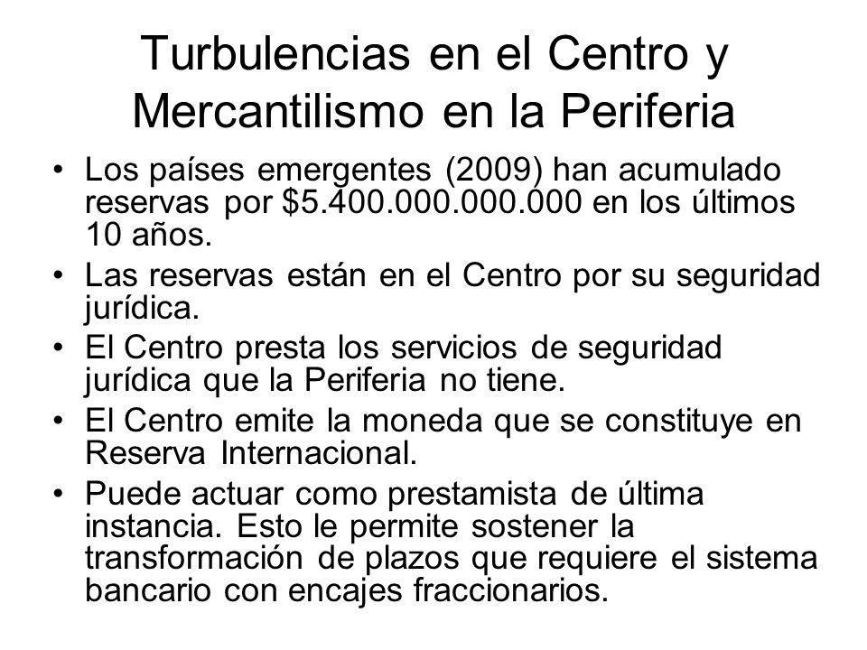 Turbulencias en el Centro y Mercantilismo en la Periferia Los países emergentes (2009) han acumulado reservas por $5.400.000.000.000 en los últimos 10