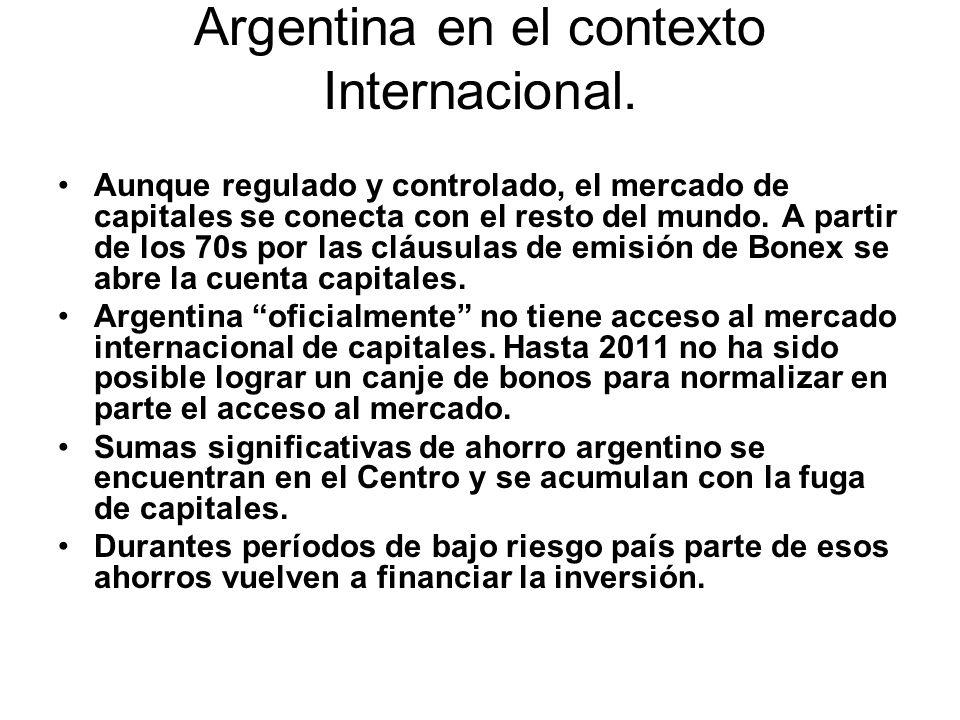 Argentina en el contexto Internacional. Aunque regulado y controlado, el mercado de capitales se conecta con el resto del mundo. A partir de los 70s p