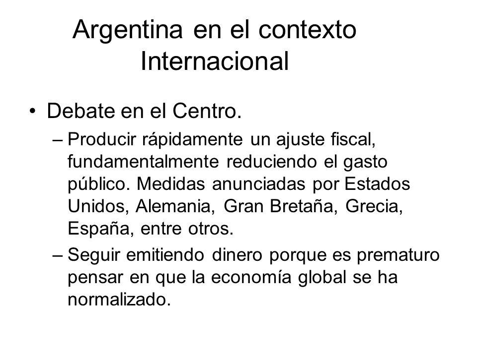 Argentina en el contexto Internacional Debate en el Centro. –Producir rápidamente un ajuste fiscal, fundamentalmente reduciendo el gasto público. Medi