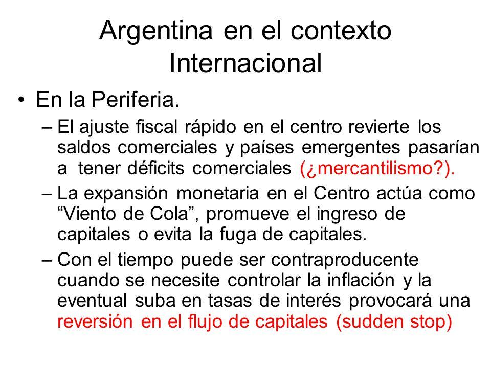Argentina en el contexto Internacional En la Periferia. –El ajuste fiscal rápido en el centro revierte los saldos comerciales y países emergentes pasa