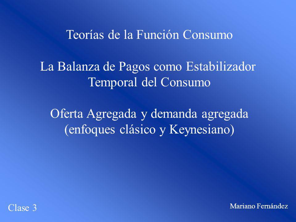 Teorías de la Función Consumo La Balanza de Pagos como Estabilizador Temporal del Consumo Oferta Agregada y demanda agregada (enfoques clásico y Keyne